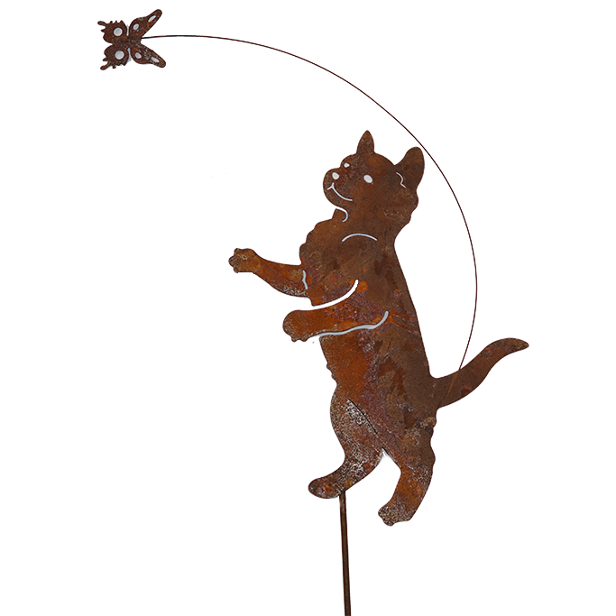 *DE02050  Cat and butterfly w/stake