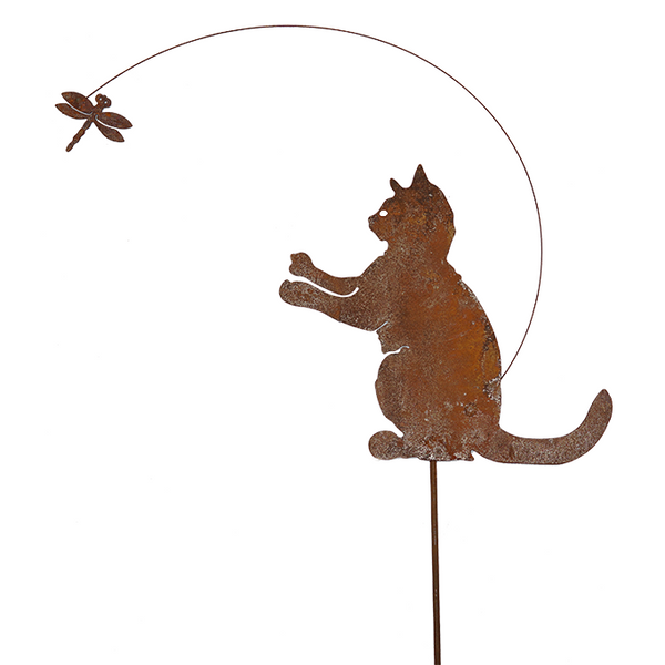 *DE02049  Cat and dragonfly w/stake