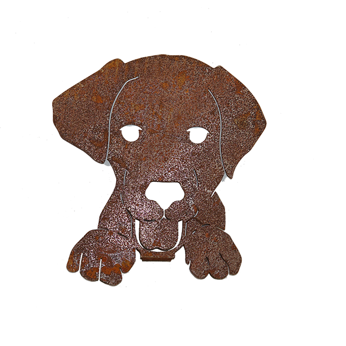 Dog Face With Screw in Plate - rusted metal Silhouette