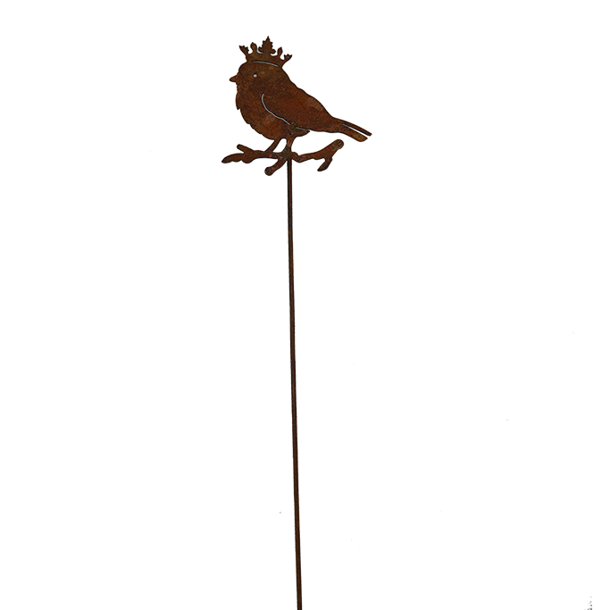 Chickadee with crown - rusted garden stakes