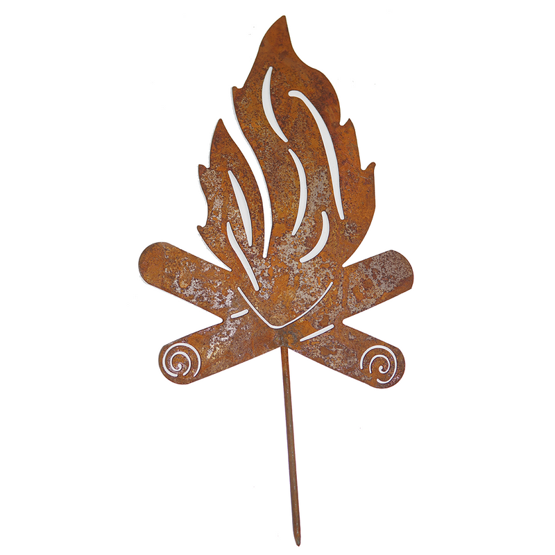 Fire Stake - rusted garden stakes