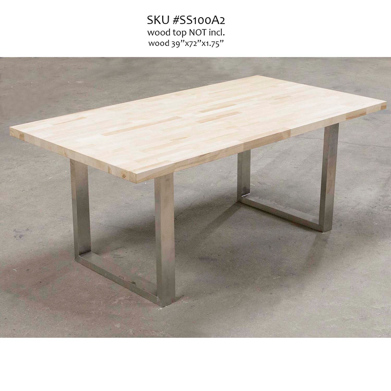 SS100A2 Stainless Steel Dining Table U Legs