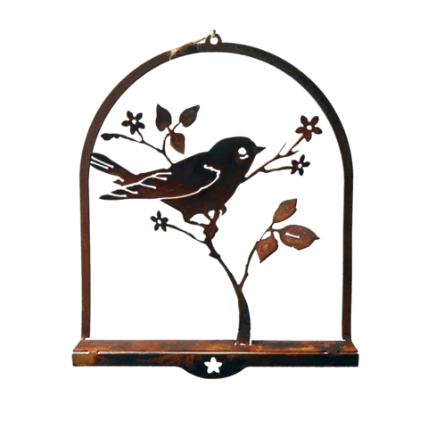 W4390 Upright Warbler 3D Wall Art -  Rust & Raw Steel
