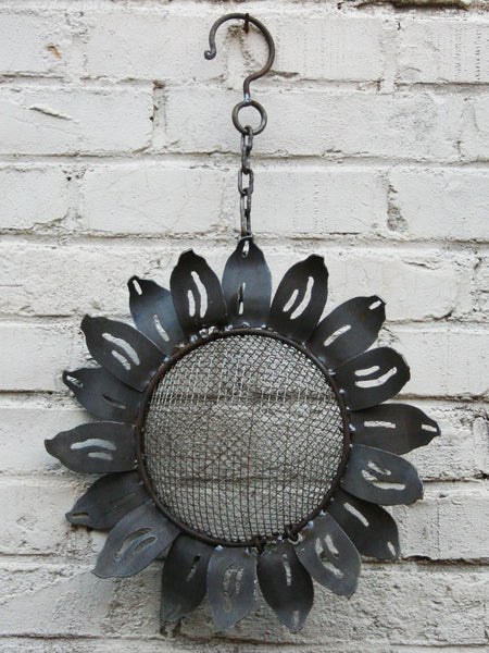 W3532C Hanging Bird Feeder - sunflower - rust finish