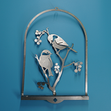 W4391 Chickadees & Berries 3D Wall Art -  Rust & Raw Steel