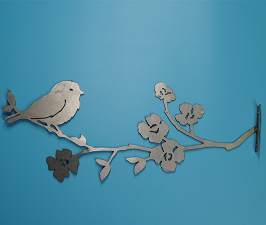 W4397 Chickadee on Dogwood Brance -  Rust & Raw Steel
