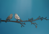 W4399 Love Birds on Branch -  Rust & Raw Steel