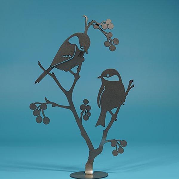 W4406 Chickadees & Berries -  Rust & Raw Steel