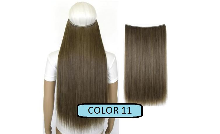 Invisible Halo Hair Extensions, Straight (24 in, 59 cm) Healthier Lifestyle For You 11 - Medium ash brown mix Light ash blonde