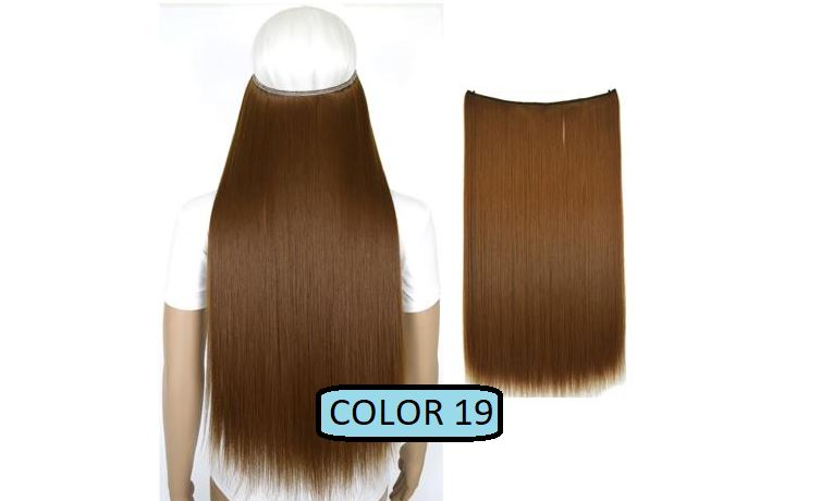 Invisible Halo Hair Extensions, Straight (24 in, 59 cm) Healthier Lifestyle For You 19 - Medium golden brown