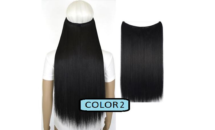 Invisible Halo Hair Extensions, Straight (24 in, 59 cm) Healthier Lifestyle For You 2 - Natural black