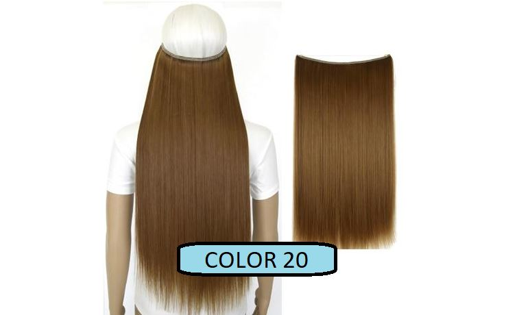 Invisible Halo Hair Extensions, Straight (24 in, 59 cm) Healthier Lifestyle For You 20 - Medium golden brown mix Light brown