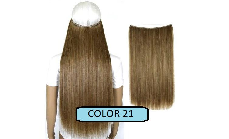 Invisible Halo Hair Extensions, Straight (24 in, 59 cm) Healthier Lifestyle For You 21 - Medium golden brown mix Bleach blonde