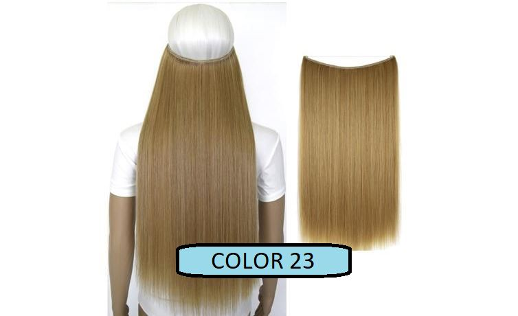 Invisible Halo Hair Extensions, Straight (24 in, 59 cm) Healthier Lifestyle For You 23 - Light brown mix Bleach blonde