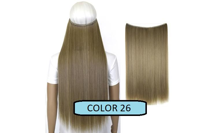 Invisible Halo Hair Extensions, Straight (24 in, 59 cm) Healthier Lifestyle For You 26 - Straw ash mix Bleach blonde