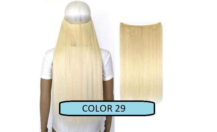 Invisible Halo Hair Extensions, Straight (24 in, 59 cm) Healthier Lifestyle For You 29 - Bleach blonde mix snow white