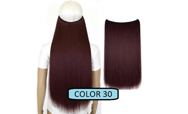 Invisible Halo Hair Extensions, Straight (24 in, 59 cm) Healthier Lifestyle For You 30 - Dark burgundy red