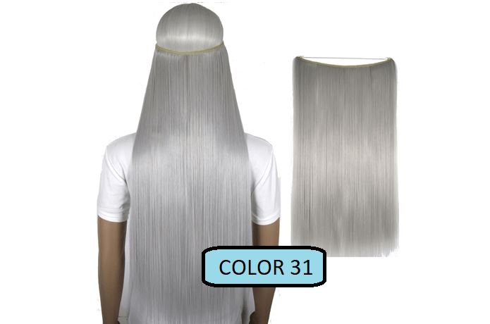 Invisible Halo Hair Extensions, Straight (24 in, 59 cm) Healthier Lifestyle For You 31 - Silver grey
