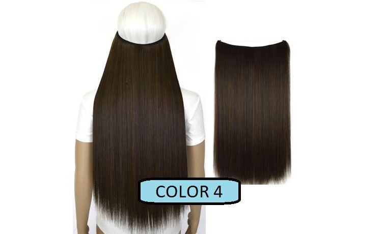 Invisible Halo Hair Extensions, Straight (24 in, 59 cm) Healthier Lifestyle For You 4 - Darkest brown mix Medium golden brown