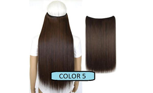 Invisible Halo Hair Extensions, Straight (24 in, 59 cm) Healthier Lifestyle For You 5 - Darkest brown mix Medium auburn