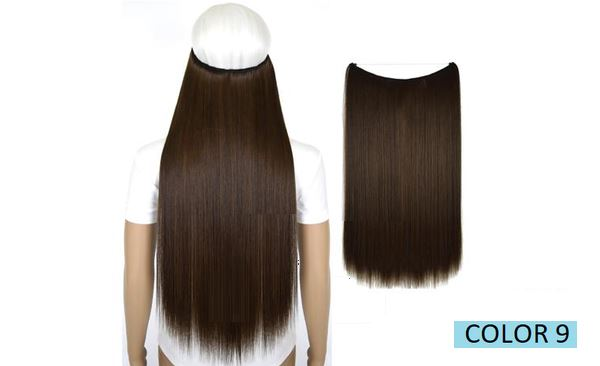 Invisible Halo Hair Extensions, Straight (24 in, 59 cm) Healthier Lifestyle For You 9 - Medium brown mix Medium golden brown