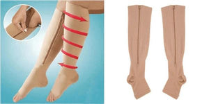 Medical Compression Socks with Zipper Healthier Lifestyle 4 All S-M Nude