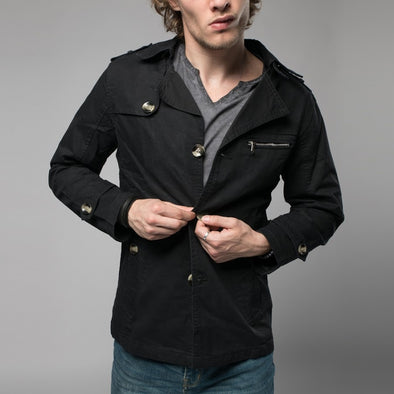 Black Single-Breasted Trench Coat