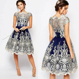 Elegant Vintage Autumn Dress Women Lace Embroidery Prom Formal Empire Knee-Length Party Bridesmaid Ball Gowns Dress