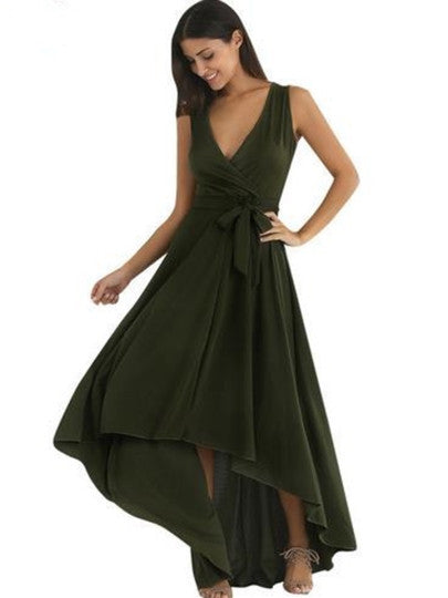 Army Green V Neck Asym Women's Maxi Dress