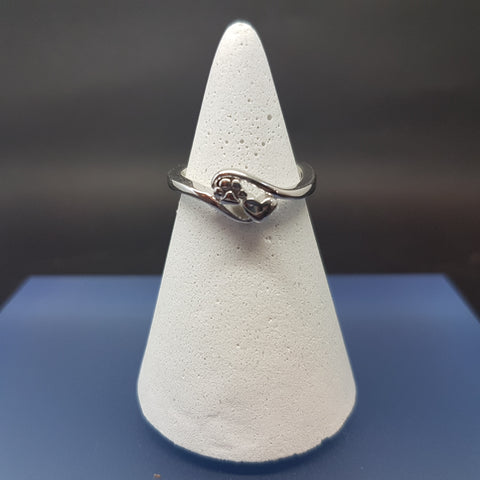 Ring in Sterling Silver with Paw & Heart