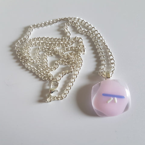 Fused Glass Soft Pink Button size Pendant with Agility See Saw detail on silver plated chain