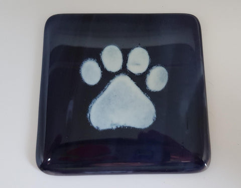Fused Glass  with Paw detail Coaster Can personalise.