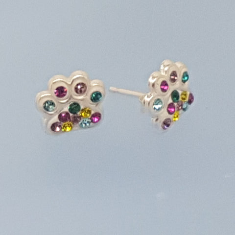 Paw Crystal Earrings Sterling Silver Many Colours