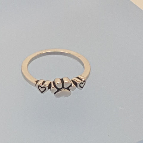 Sterling Silver 925 Dog Paw Double Heart Ring