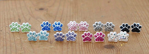 Paw Earrings Many Colours Sterling Silver
