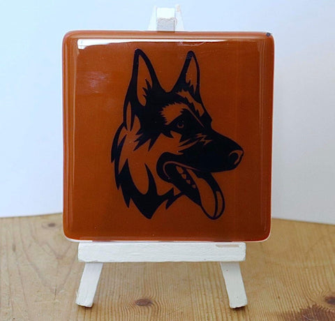 German Shepherd Fused Glass coaster