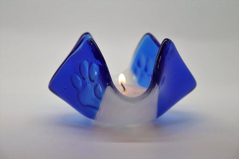 Tea Light Holder in Blue and White Fused Glass