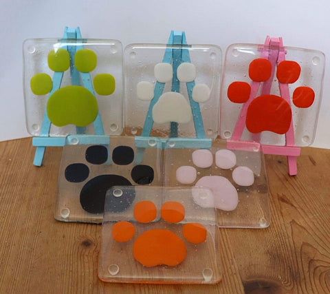 Clear Glass Funky Coasters  with Paw Detail