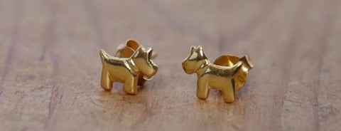 Dog Earrings Sterling Silver with Gold Finish