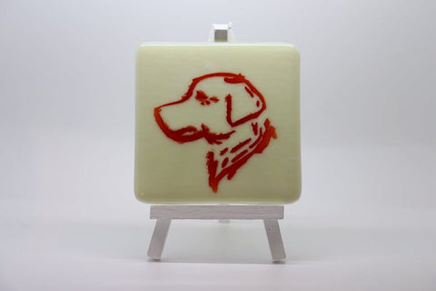 Labrador head in  Fused Glass  Coaster