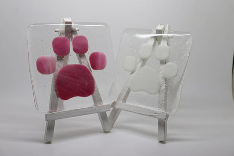 Glass Coaster with Paw Detail