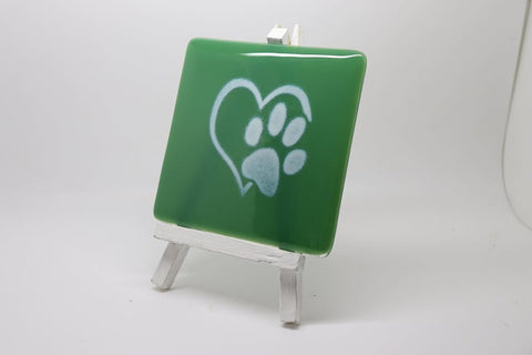Paw Heart Fused Glass  Coaster. Can personalise