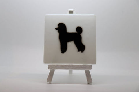 White Fused Glass Coaster with Black Poodle Silhouette