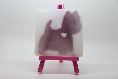 Cute Westie Fused Glass  Coaster