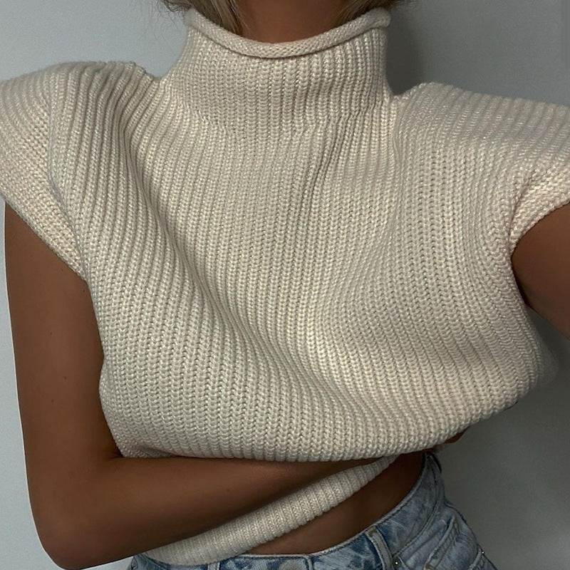 Kyra Padded Shoulder Knitted Vest Top