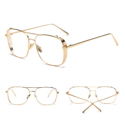 Jeepers Peepers Clear Lens Aviator with Gold Frame