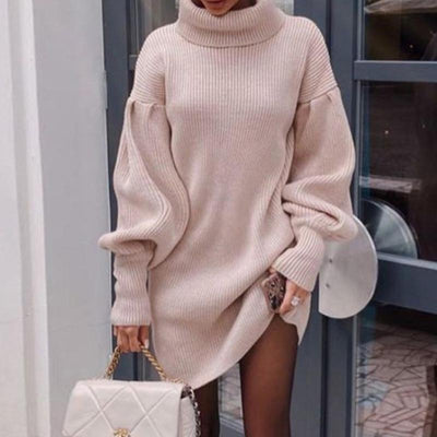 Laza Puff Sleeve Knitted Dress