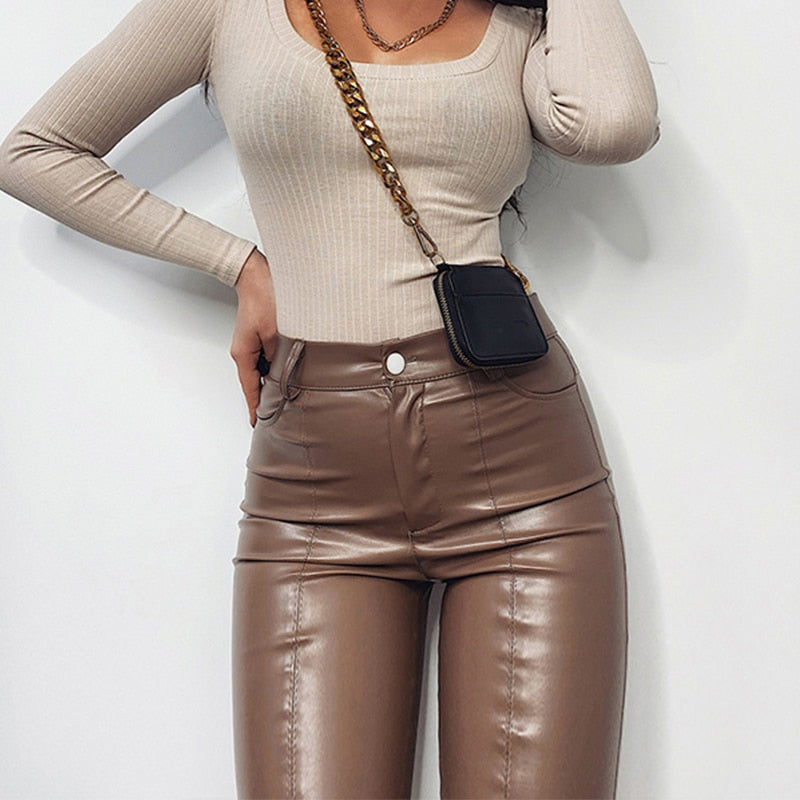 Murano High Waisted Faux Leather Pants