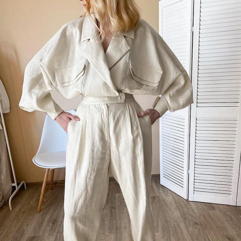 Rafa Linen Blazer Two Piece Set