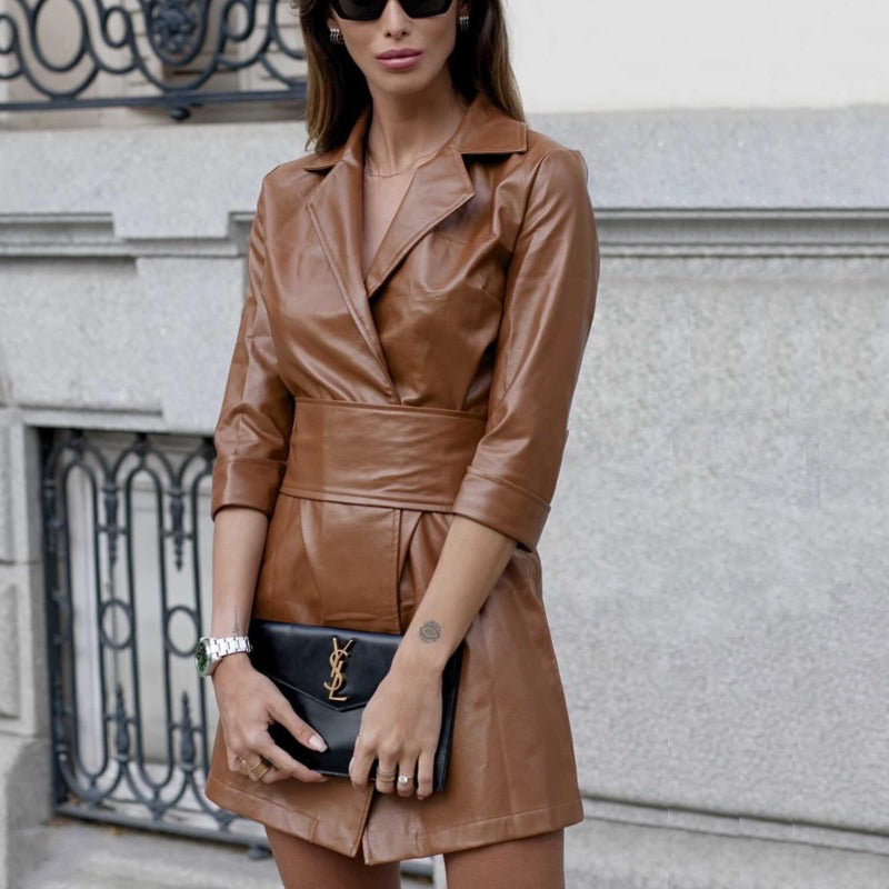 Felicia Faux Leather Dress
